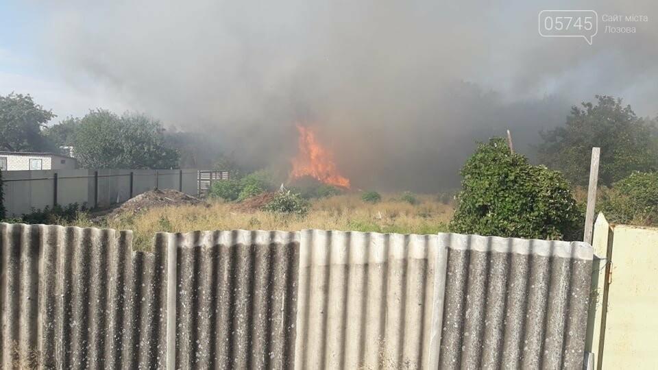 Огонь перекинулся с сухостоя на сарай: лозовские спасатели тушат пожар в центре города , фото-2
