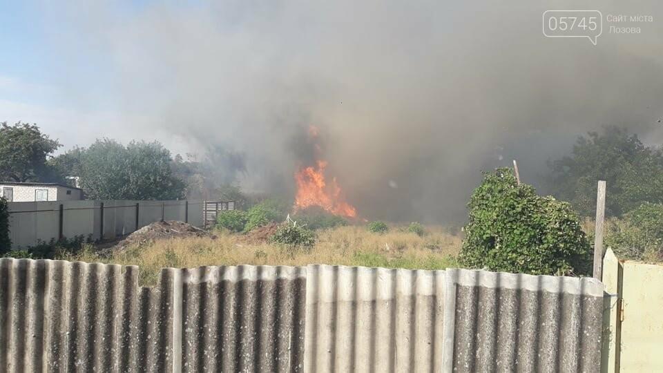 Огонь перекинулся с сухостоя на сарай: лозовские спасатели тушат пожар в центре города , фото-8