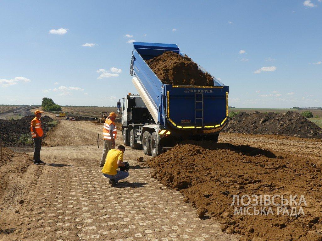 Для проверки хода строительства объездной дороги в Лозовую приезжала губернатор области Юлия Светличная, фото-2
