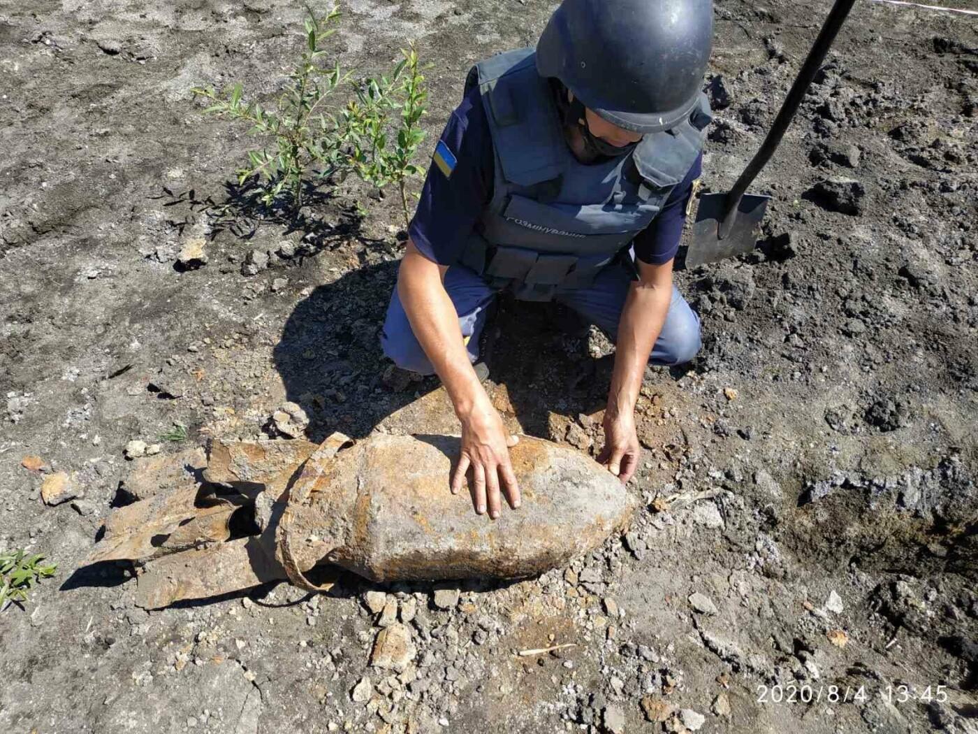 Дети нашли снаряд: на Лозовщине пиротехники  изъяли и обезвредили фугасную авиабомбу, фото-1