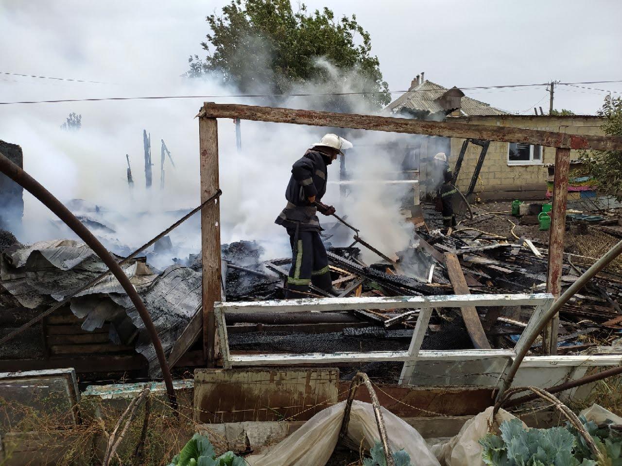 Погибли домашние животные: на Лозовщине, в Катериновке, произошёл пожар (ФОТО), фото-1