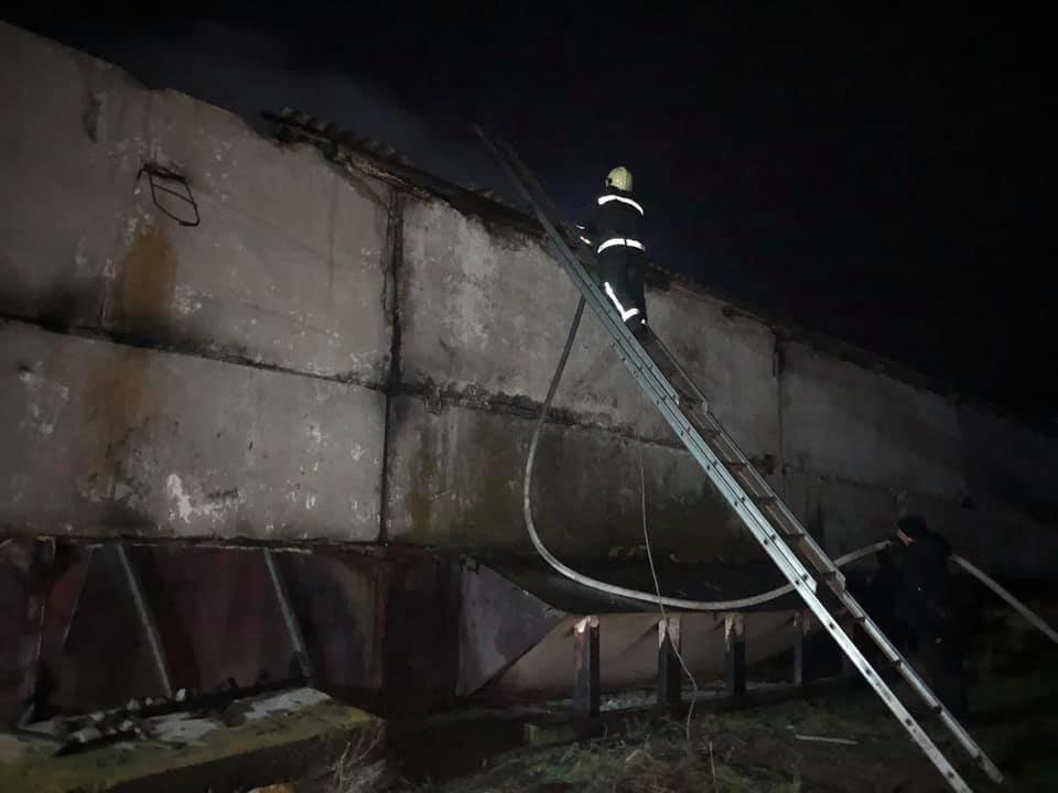 На Лозовщине спасатели больше 3 часов тушили пожар на зернохранилище, фото-1